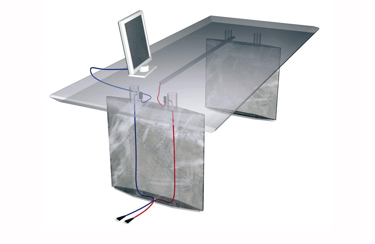 542 Arrangement for cable ducting on desk base